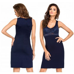 Koszulka nocna Betty Dark Blue wiskoza koronka Donna