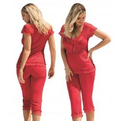 Piżama damska Tania wiskoza koronka czerwona