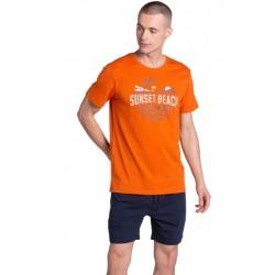 Piżama Led 38867-22X Pomarańczowo-Granatowa