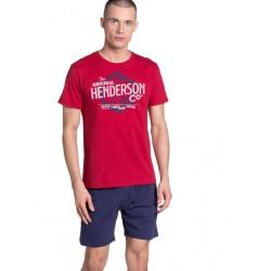 Piżama Lars 38869-33X Czerwono-Granatowa
