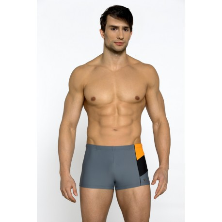 Kąpielówki męskie bokserki 211 v.3 szary + pomarańczowy
