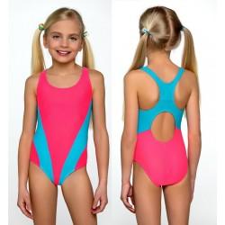 Strój kąpielowy dziecięcy dla dziewczynki L-35, różowy z niebieskim