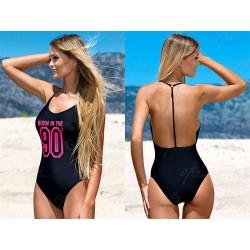 Strój kostium kąpielowy L-4106/7 sportowy czarny+róż