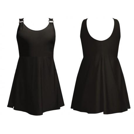 Strój kąpielowy jednoczęściowy wyszczuplający sukienka BETTY-1, ciemny brąz