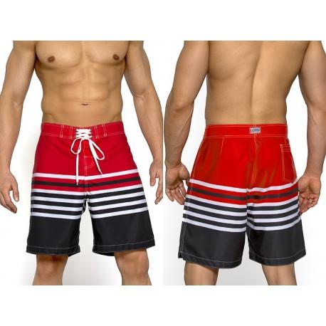 Kąpielówki męskie spodenki Bermudy 11 v.1, czarno-czerwone