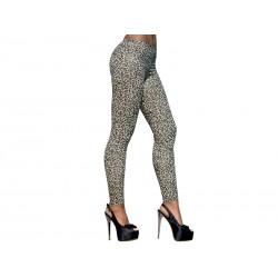 Getry 1 - Długie elastyczne legginsy damskie, panterka złoto-czarna