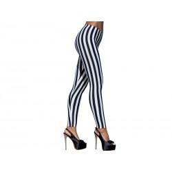 Getry 2 - Długie elastyczne legginsy damskie, pasy czarno-białe