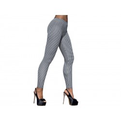 Getry 5 - Długie elastyczne legginsy damskie, pepitka czarno-biała