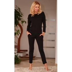 Komplet CALPE - Piżama z wiskozy, koszulka + długie spodnie,czarna