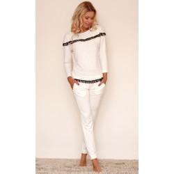 Komplet CALPE - Piżama z wiskozy, koszulka + długie spodnie,ecru