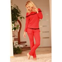 Komplet CALPE - Piżama z wiskozy, koszulka + długie spodnie,czerwona