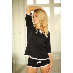 Komplet GIRONA - Piżama z wiskozy, koszulka + szorty, czarny