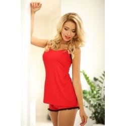 Komplet GRACIOSA - Piżama z wiskozy, koszulka i szorty, czerwona
