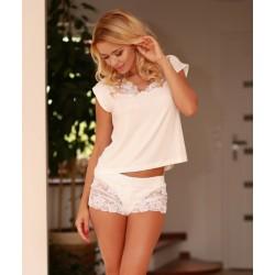 Komplet LUGO - Piżama z wiskozy, koszulka + szorty, ecru