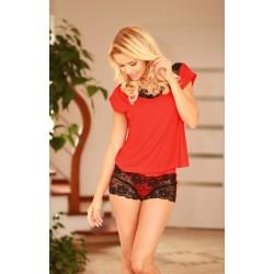 Komplet LUGO - Piżama z wiskozy, koszulka + szorty, czerwona