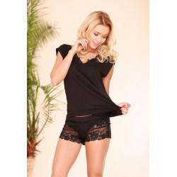 Komplet LUGO - Piżama z wiskozy, koszulka + szorty, czarna