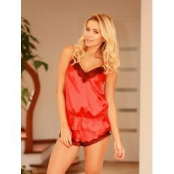 Komplet RONDA - Piżama satynowa, koszulka i szorty, czerwona