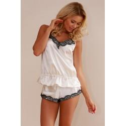 Komplet RONDA - Piżama satynowa, koszulka i szorty, ecru