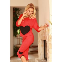 Komplet VIGO- Piżama z wiskozy, koszulka + 3/4 spodnie,czerwona