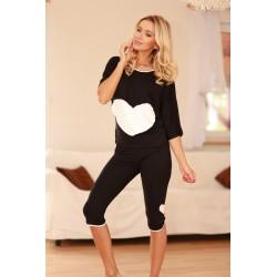 Komplet VIGO - Piżama z wiskozy, koszulka + 3/4 spodnie,czarna