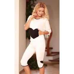 Komplet VIGO - Piżama z wiskozy, koszulka + 3/4 spodnie,ecru