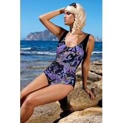 Strój kostium kąpielowy jednoczęściowy L-7171 v.5 KAROLINA czarny z fioletem