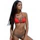 Strój kąpielowy dwucześciowy bikini push-up L-2189 v.2 GARDA, brąz (taupe) + czerwony