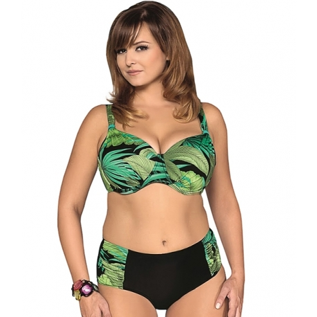Strój kąpielowy dwuczęściowy bikini na fiszbinach L-6247 v.1 MIRABELLA, czarny z zielonym wzorem