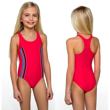 d2e40fdfdbda76 Strój kąpielowy jednoczęściowy dla dziewczynki dziewczęcy DB-1 czerwony