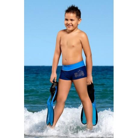 Kąpielówki spodenki bokserki dla chłopca chłopięce CB-6, granatowe z niebieskim