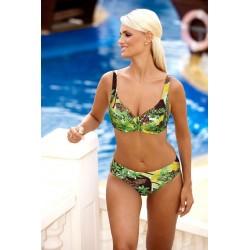 Strój kąpielowy dwuczęściowy bikini na fiszbinach L-6163 v.1 SALOMEA, zielony z wzorem