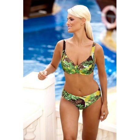 Strój kostium kąpielowy bikini na fiszbinach L-6163 v.1 SALOMEA, zielony z wzorem
