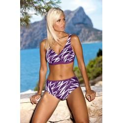 Strój kostium kąpielowy dwuczęściowy bikini zabudowane L-6141 TANITA, fioletowy z wzorem