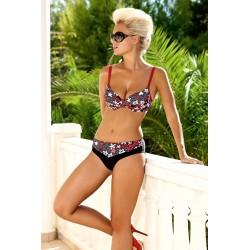 Strój kostium kąpielowy bikini ze sztywną miską L-5194 FELINA, czarny z czerwonym