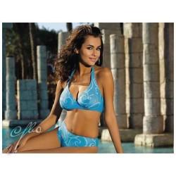 Strój kąpielowy dwuczęściowy bikini na fiszbinach SOFIA, niebieski z wzorem