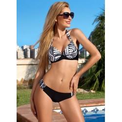 Strój kostium kąpielowy bikini z usztywnianą miską L-5276 v.1 SHERIL, czarny z wzorem