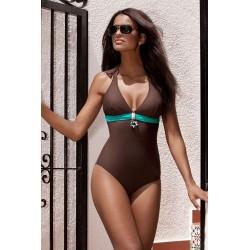 Strój kąpielowy jednoczęściowy z wkładką bikini L-7216 v.1 FABIENNE, brąz z turkusem