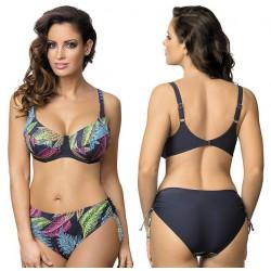 Strój kąpielowy dwuczęściowy bikini na fiszbinach L-6263 v.2 SALOMEA NEW, grafitowy z wzorem