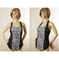 Strój kąpielowy jednoczęściowy sukienka ANETA-2, czarny z białym