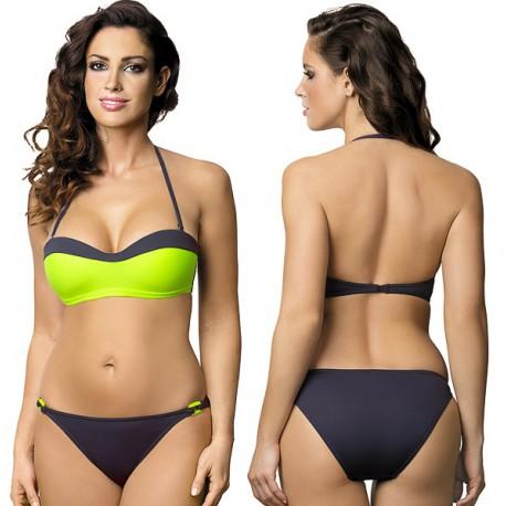 Strój kąpielowy dwuczęściowy bikini push-up L-2220 v.2 SOFIE, limonka z szarym