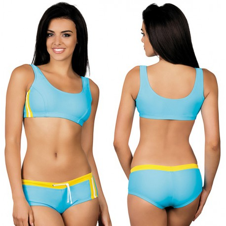 Strój kąpielowy dwuczęściowy sportowy fitness L-4001 v.2 LO-11, błękitny z żółtym