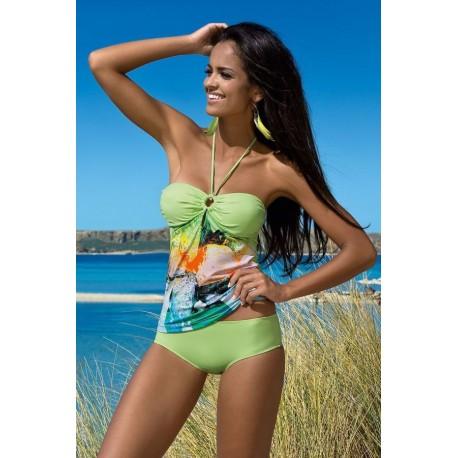 Strój kostium kąpielowy L-7281 v.1 ALLY seledyn+wzór