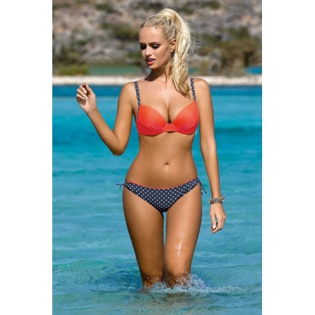 Strój kostium kąpielowy bikini push-up L-5341 v.1 CELINE, koral - granat