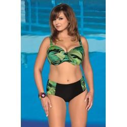 Strój kostium kąpielowy bikini na fiszbinach L-6247 v.1 MIRABELLA, czarny z zielonym wzorem