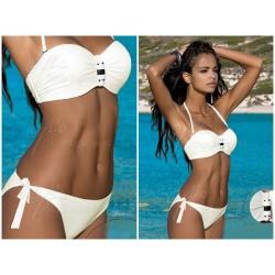 Strój kąpielowy dwuczęściowy bikini push-up L-5320 v.1 KAREN, kremowy