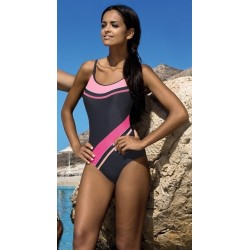 Strój kostium kąpielowy basenowy sportowy L-7131 v.4 LO-18 szary z różem