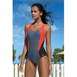 Strój kostium kąpielowy L-4105 v.1 LO-27 sportowy szary-czarny-koral