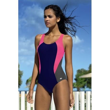 Strój kostium kąpielowy L-4105 v.2 LO-27 sportowy gran.-nieb.-róż