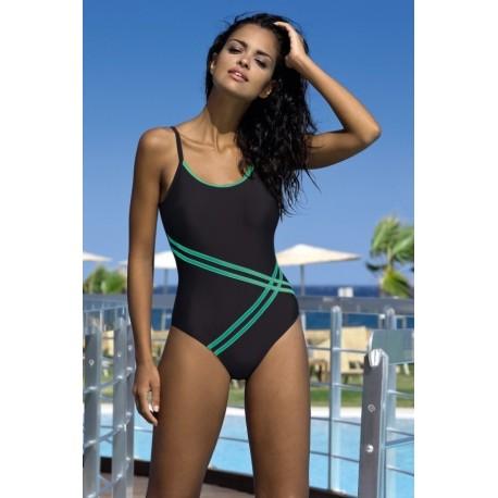 Strój kostium kąpielowy L-7132 v.3 LO-19 czarny + zieleń
