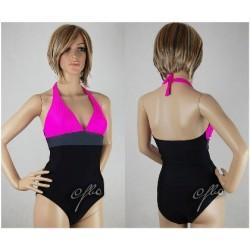 Kostium kąpielowy jednoczęściowy na basen GB-1, czarny z różowym